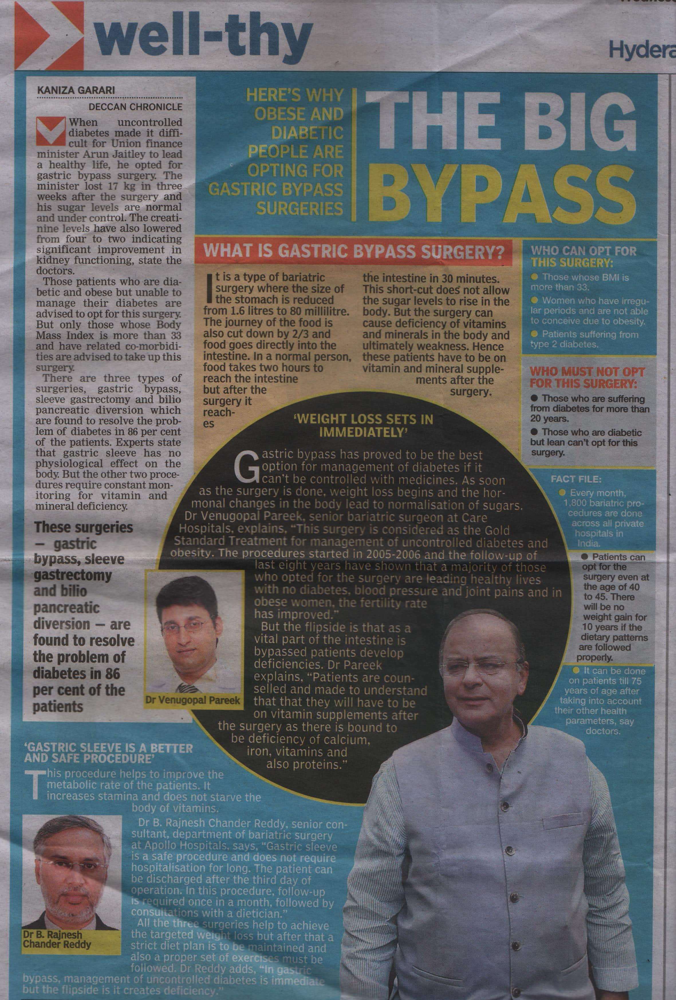 Gastric bypass surgery, also called RYGB surgery, a type of Weight loss lap surgery in India: explained in english newspaper