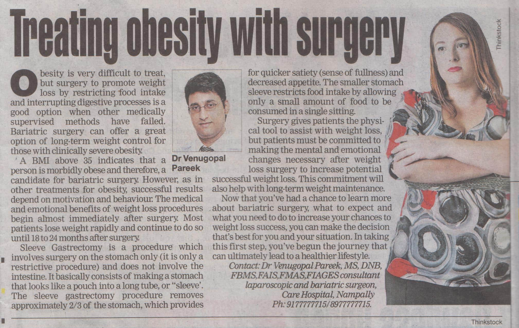 Treat your obesity with bariatric surgeries laparoscopic explained by Dr Pareek in english news media