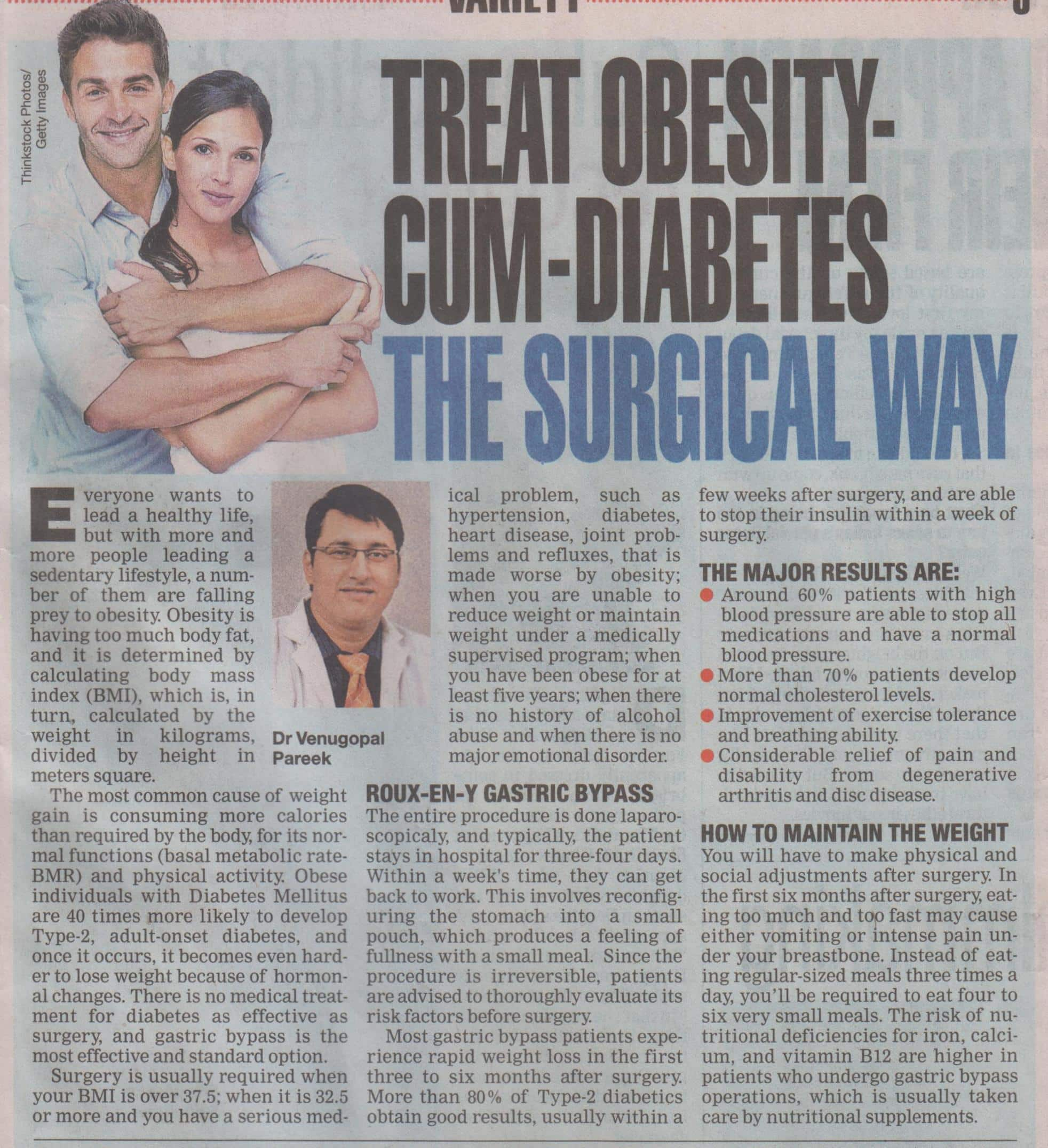 The role of bariatric surgery to treat diabetes - Diabetes surgery aticle