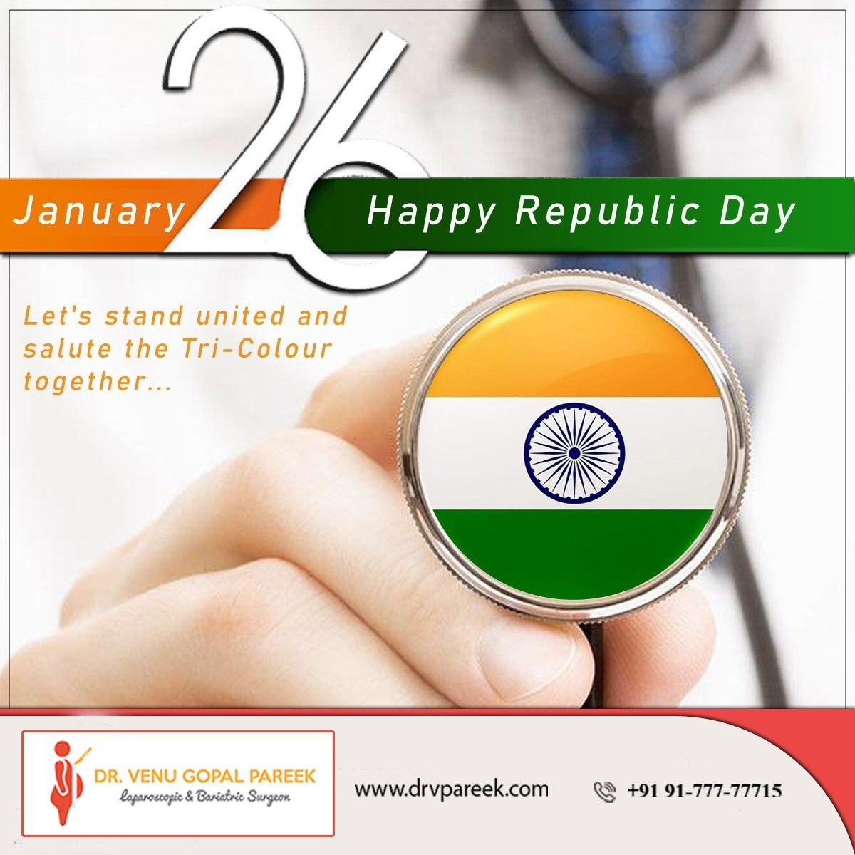 Happy Republic Day wishes by Bariatric surgeon India clinic, One of the best Weight loss surgery center in Hyderabad